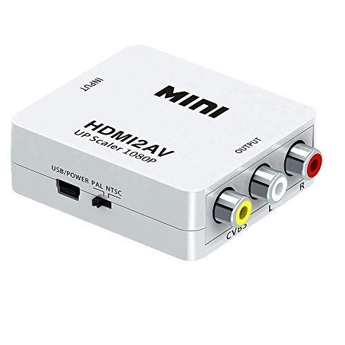 HDMI a AV Converter 1080P HD Video Converter HDMI a 3RCA CVBS Adaptador de convertidor compatible PAL/NTSC con cable de carga USB para PC/ordenador portátil/Xbox/Ps4/Ps3/TV/STB/VHS/VCR/CAMARA/DVD
