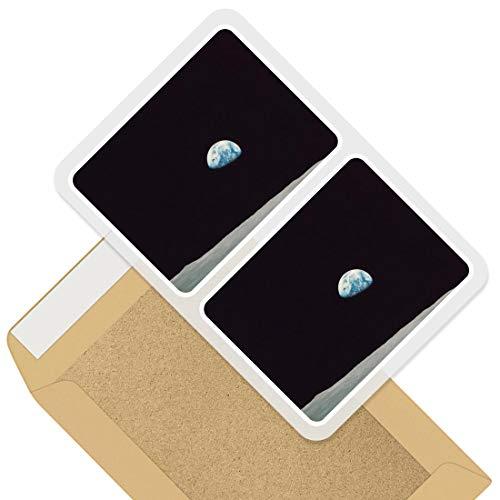 Pegatinas rectangulares impresionantes (juego de 2) 10 cm – Apollo 8 1968 Earth from Moon Fun calcomanías para ordenadores portátiles, tabletas, equipaje, chatarra, neveras, regalo fresco #44111