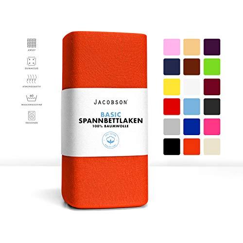 Jacobson Jersey Spannbettlaken Spannbetttuch Baumwolle Bettlaken (180x200-200x200 cm, Orange)