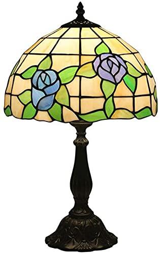 Lámparas de mesa de estilo Arte 12 pulgadas azul púrpura y rosa estilo pastoral lámpara de vidrio de vidrio...