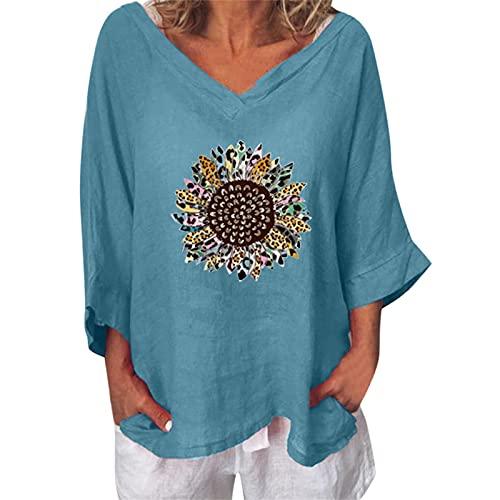 NAQUSHA Camiseta de manga 3/4 para mujer, algodón, lino, talla grande, para primavera, verano, cuello en V, estampado de girasol, suelta, para tiempo libre, azul, S