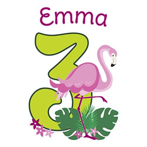 MissRompy Geburtstag Bügelbild Flamingo (812) für dunkle und helle Stoffe Zahl groß Aufbügler Alter Bügelbilder Applikation Aufbügelbild
