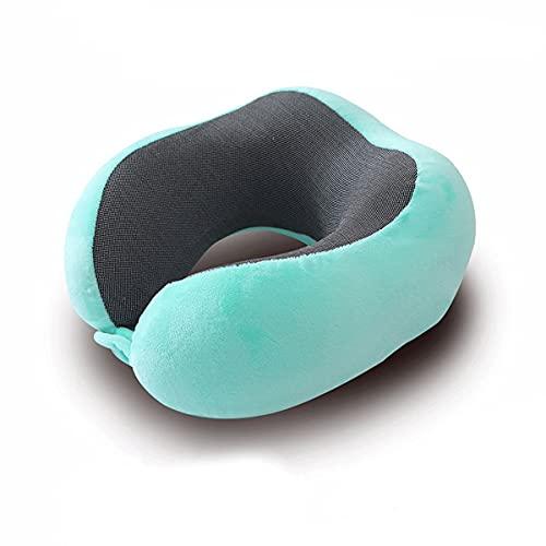 QSWL Almohada De Viaje Viscoelástica con Cuello A Dormir En Aviones, Tren, Coche Lavable, para Viajes, Hogar Y Oficina (Color : Blue, Size : 28x24x12cm)
