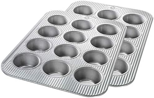USA Pan Bakeware Cupcake and Muffin Pan Nonstick Quick Release Coating 12 Well Set of 2 Aluminized product image