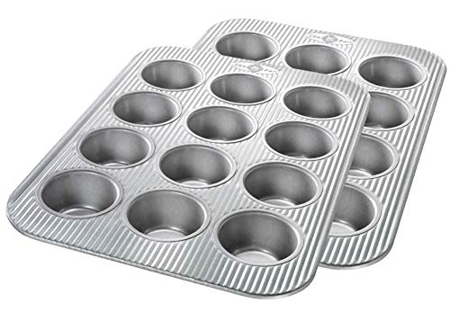 USA Pan Bakeware Cupcake and Muffin Pan, Nonstick Quick Release Coating, 12-Well, Set of 2, Aluminized Steel