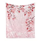 Lunarable East Soft Flannel Fleece Throw Blanket, Japanese Cherry Blossom Sakura Buds Springtime Travel Destinations Seasonal, Cozy Plush for Indoor and Outdoor Use, 70' x 90', Coral Pink