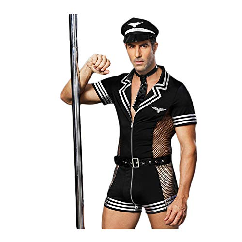BlueSpace Men's Policeman Costume Sexy Cop Cosplay Uniform Set Role Play Costumes Lingerie for Halloween Party