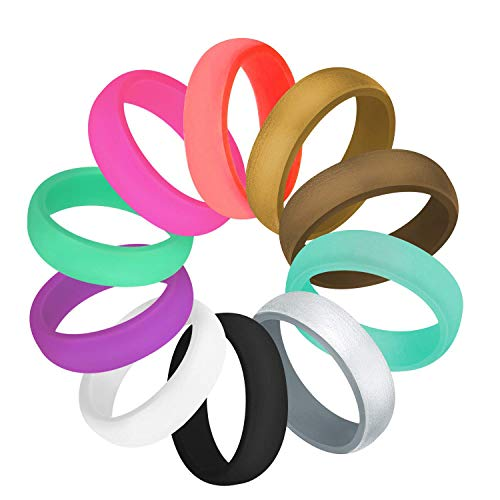 COOLOO 10 Pack Silicone Wedding Ring