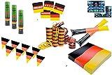 XXL Deko Dekoration Set Fanartikel Deutschland Tischdeko Tischdekoration 20x Servietten, 15 x Bierdeckel, 3x Partypopper, 1x Girlande Wimpelkette, 2x Klatschstangen, 3x Luftschlangen