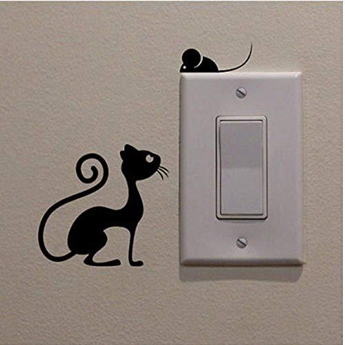 Etiqueta Engomada Del Interruptor Del Animal Del Gato Y Del Ratón De La Historieta Decoración Del Hogar Decoración De La Pared De La Sala De Estar Del Vinilo