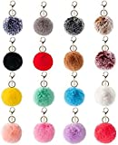 16 PCS Pom Poms Keychains Fluffy Pompoms Balls Faux Rabbit Puff Ball Keyrings for Girls Women (Mix Color)
