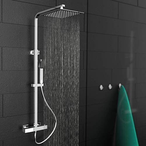 EISL DX1104CST CALVINO Duschsystem mit Thermostat Armatur, Komplettes Duschset mit Brausegarnitur (Regendusche mit Wandhalterung und Duschthermostat, Duschsäule), Chrom