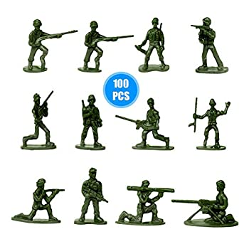 HAPTIME 100 Pcs Various Pose Toy Soldiers Figures Army Men Green Soldiers Toy Soldiers Action Figures for Kids Children