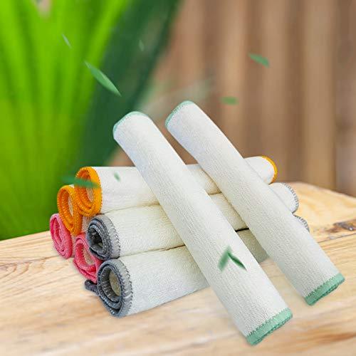 100prozent Bambus Tücher Spüllappen, 8er-Pack, 20 x 25 cm-Umweltfre&liche bambusfasern Geschirrtücher, Natürlicher Putztücher und Spültücherr, Doppelseitig Saugfähige Bambustücher für Küche, BadundHaushalt