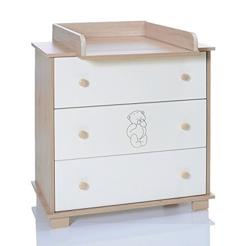 Commode Bebe avec Table à Langer Amoviable | 3 Tiroirs Grande |Ours Creme Blanc