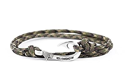 Chasing Fin Adjustable Bracelet 550 Military Paracord with Fish Hook Pendant (Ground War)
