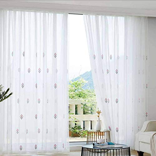 PLEASUR Sheer Voile Curtain, Embroidery Window Treatment Soft Decorative Drapes with Grommets Window Panel Suitable for Patio Living Room Bedroom-200x270cm(79x106inch)-A 1 Panel