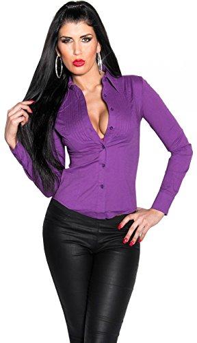 KouCla - Youngfashion24 Sexy Freizeit Bluse - eng tailliertes Hemd (Gr. S - XXL) 8 Farben (M, Lila)
