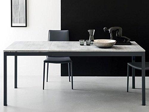 Calligaris Connubia by Table extensible Snap CS/4085 – Dimensions : 120/180 x 80 x 76 cm – Structure : métal taupe mat P176 – Plateau : mélaminé blanc P22W
