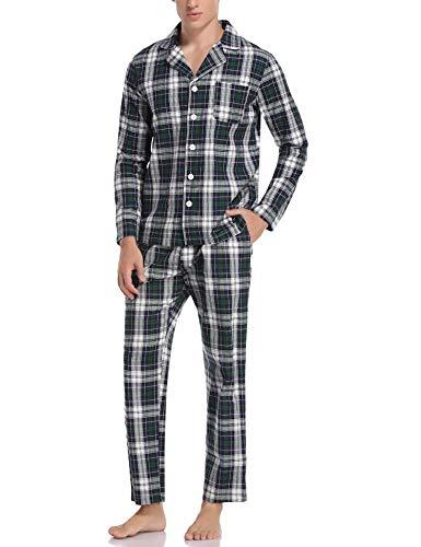 Aibrou Herren Schlafanzug lang Karierter Pyjama Set Zweiteilige Nachtwäsche Langarm mit V-Ausschnitt und Knopfleiste Blau+Grün+Weiß S