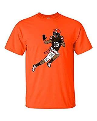 OBJ Odell Beckham Jr Brown T Shirt Football Graphic T Shirt Cleveland Football Fan (Large, Orange)