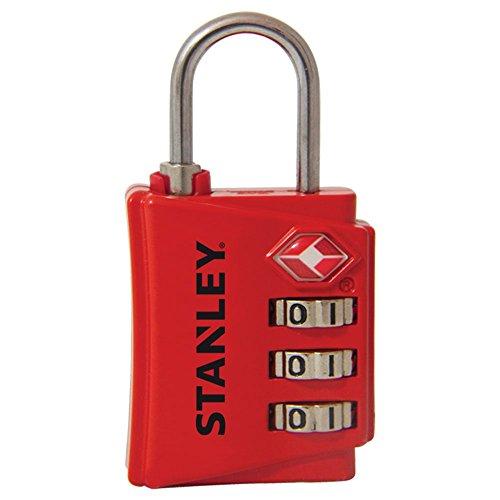 Stanley 81141393401 Lucchetto TSA a 3 Cifre Rosso con Indicatore di Sicurezza in Zinco, 30 mm