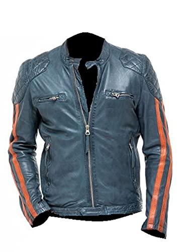 HiFacon Chaqueta de cuero vintage retro Cafe Racer para hombre, estilo motociclista, chaqueta de cuero genuino, Chaqueta de piel auténtica, XXXL