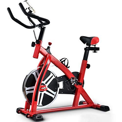 Bicicletas de spinning indoor,Bicicleta de ciclismo silenciosa de oficina con instrumento electrónico,Equipo de fitness ajustable,Puede soportar 120 kg ( Color : Black+Red , Size : 110*44*110CM )