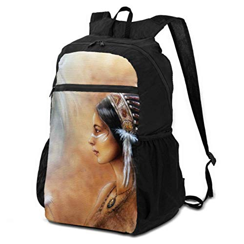 JOCHUAN Washable Packable Backpack Beautiful Airbrush Painting Young Native Indian Travel Foldable Backpack Ultralight Foldable Backpack Lightweight Waterproof for Men & Womentravel Camping Outdoor