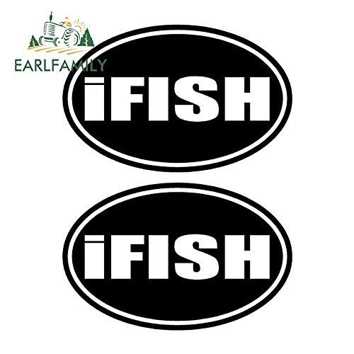 JYIP 12cm x 7.7cm 2pcs IFISH Etiquetas engomadas de la Pesca del Barco Trout Walleye Bass SEÑUELOS SE ADHIERE la Etiqueta engomada Impermeable del Coche Negro/Plata Negro