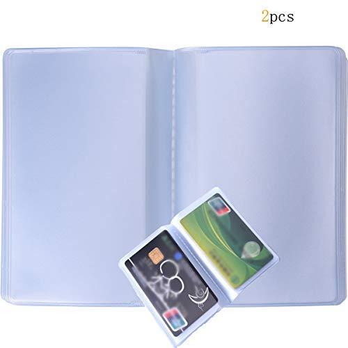 2 fundas de plástico para tarjetas de crédito, con 10 páginas, 20 compartimentos, transparentes.
