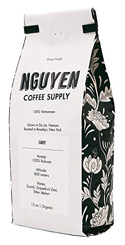 Nguyen Coffee Supply Vietnamese Fair Trade Organic Single Origin Brooklyn Roasted Whole Beans (Grit (100% Peaberry Robusta), 12oz)