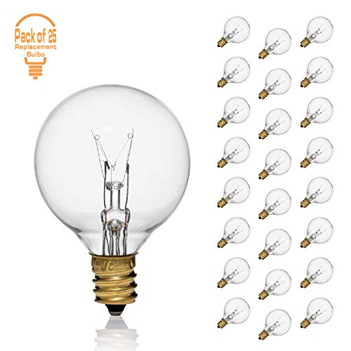 Clear G40 5 Watt for String Lights Replacement Globe Bulbs with Candelabra Screw Base E12 Candelabra Base String Light Bulbs Outdoor/Indoor, Pack of 25