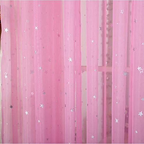 Rideaux en tissu pour enfants brillants pour le salon Kids Garçon Fille Chambre Bleu / Rose Blackout Cortinas Custom Made Drapé wp123-45, Couleur 2 Tulle, 1PC W100 x H260cm, Haut à œillets (Anneau)
