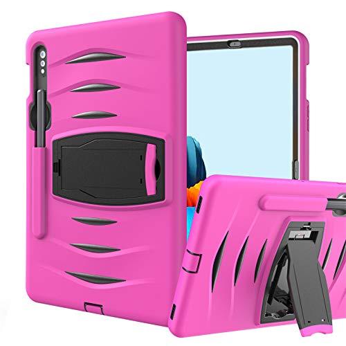 Funda para Galaxy Tab S7 11-Pulgadas 2020 (SM-T870/T875/T878), Cubierta Protectora Completa a Prueba de Golpes de Tres Capa con Soporte, Funda Robusta Antichoque,Rose-Red