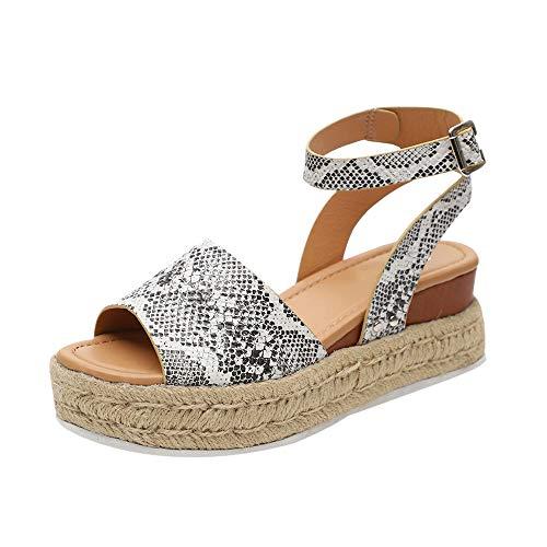 Sandalias Cuña Mujer Verano Zapatos de Plataforma Cuña Zapatos de Boca de Pescado Playa Zapatillas Sandalias de Punta Zapatos Blanco Amarillo Caqui Marrón Leopardo Gris Negro Tamaño 35-43 EU