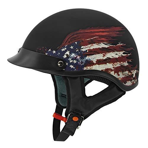 VCAN Cruiser Solid Flat Black Half Face Motorcycle Helmet (Flag, Large)