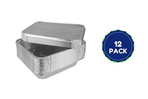 Disposable 9X13 Half Size Pan Baking Cooking Roasting Pans With Aluminum Foil Lids Durable 12 Pack