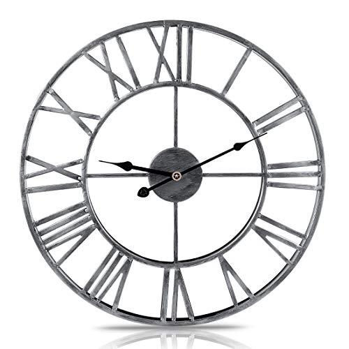 AMITAS Wanduhr, 50cm Vintage Wanduhr, ohne Tickgeräusche die Uhr ohne Sekundenzeiger Absolute Ruhe lautlos für Küche Wohnzimmer Schlafzimmer