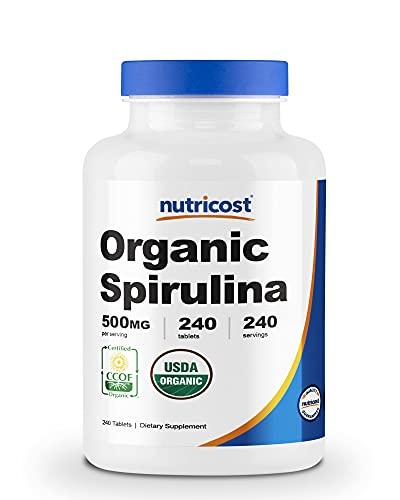 Nutricost Organic Spirulina 500mg, 240 Tablets - Gluten Free, Non-GMO