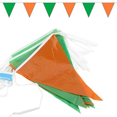 goodymax® Wimpelkette 10 m Grün-Orange - viele weitere Farben & Farbkombinationen zur Auswahl