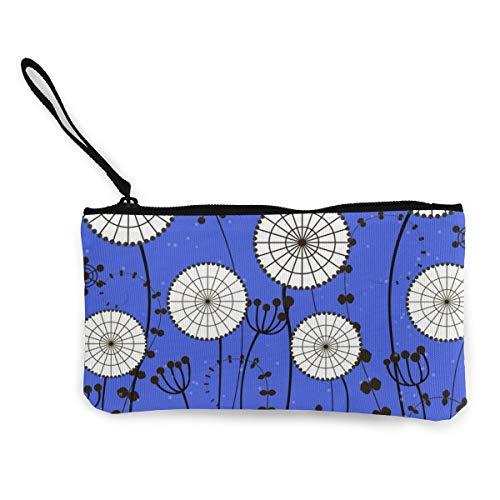 Wrution Geldbörse/Geldbörse aus Segeltuch, mit Reißverschluss, Motiv Pusteblumen, Hellblau