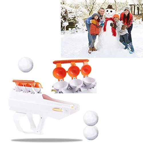 KZJIEZH Juego de invierno al aire libre, lanzador de bolas de nieve, pelea de bola de nieve blanca Blaster con asa, arte de la guerra de nieve, herramientas de nieve redondas para niños y adultos Invi