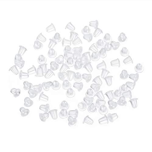 MURUI 200 unids/Lote Pendiente de Silicona de Goma Pendientes de Oreja Transparente Pendientes de Enchufe de Tuerca de Espalda Backs Ganchos DIY Joyería Hallazgos Accesorios YC0322 (Color : C)