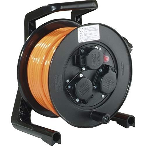 JUMBO® XS Kabeltrommel mit 3 Steckdosen H07BQ-F Leitungsfarbe orange, Querschnitt 3 x 1,5 mm², Länge 25 m