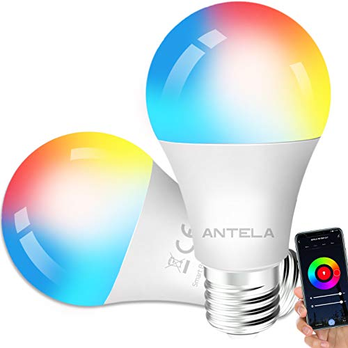 2 bombillas LED Alexa Inteligente WiFi E27 [2021Edition] Regulable Bombilla ANTELA Smart 9W 806ML 80W Equivalente RGB & 2700K-6500K Blanco frío Cálido Compatible con Alexa/Google Home