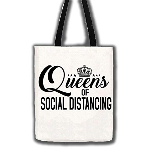 Review Queen Social Distancing Shirt Quarantine Cotton Canvas Tote Carry All Day Bag