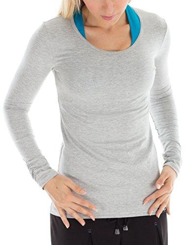 Winshape WS1 Tee-Shirt à Manches Longues pour Femme Coupe étroite pour Loisirs et Sport XS Gris - Gris mélangé
