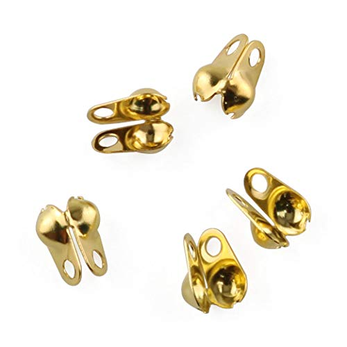 E-outstanding 200-Pack Clamshell Endcap Calottes Crimp End Cap Connector Clasp Fitting Ball Chain Calotte End Crimps Beads Connector Components for DIY Jewelry Making 3.2mm, Gold