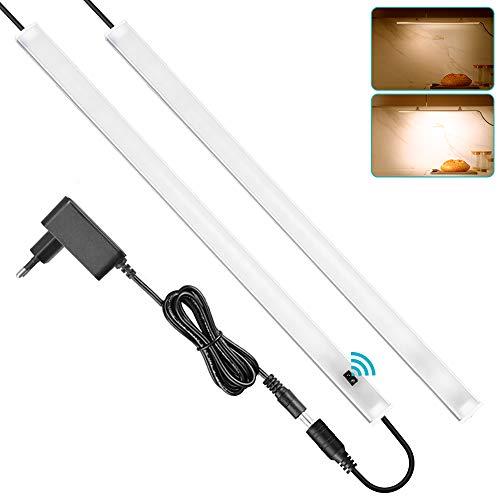 SOAIY 2er Set LED dimmbar Unterbauleuchte 2x40cm 11W 900lm Schrankleuchte Küchenlampe An-/Ausschalten Dimmen per Handbewegung Lichtleiste Memory-Funktion mit 12V Netzteil Magnet 3000K Warmweiß